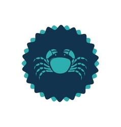 Stamp border with silhouette crayfish vector