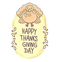 thanksgiving with orange turkey bird and tex vector image