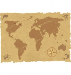 vector grunge old map vector image