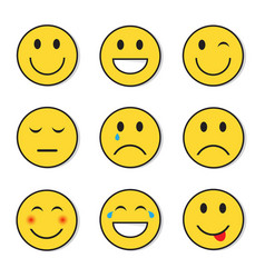 Yellow smiling face positive and negative people vector