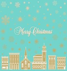 Festive christmas background with a town vector