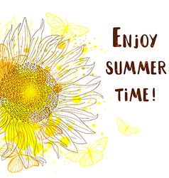 Abstract summer background with sunflower vector