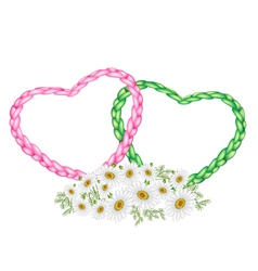 Two rope heart with a white daisy flower vector