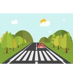 Crosswalk path road with car automobile stopped vector
