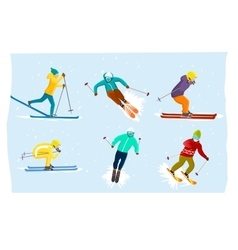 People skiing set in flat design vector