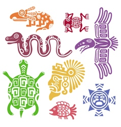 Ancient mexican symbols mayan culture indian with vector