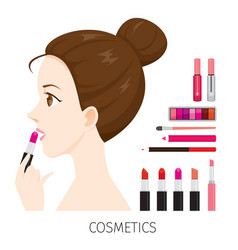 side view woman with hair bun make-up lipsticks vector image