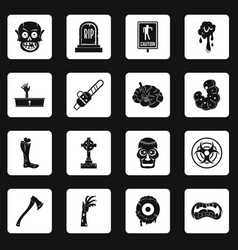 Zombie icons set squares vector