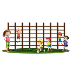 Children playing and climbing up the bars vector
