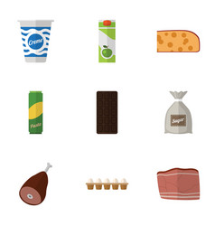Flat icon meal set of packet beverage eggshell vector