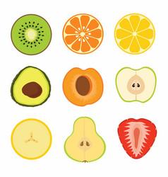 Set fruit sliced vector