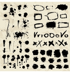 Ink splatters grunge design elements collection vector