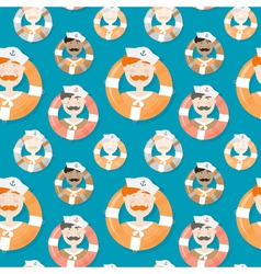 Sailors of different ethnicities seamless pattern vector