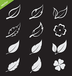leaves icon set vector image
