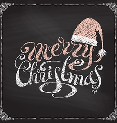 Hand-written merry christmas on blackboard vector