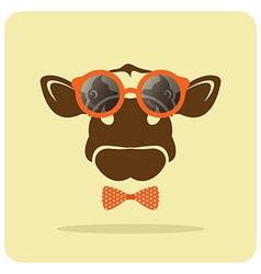 image of a cow wearing glasses vector image