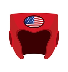 Boxing helmet with the flag of america red vector