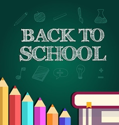 Back to school poster with text on chalkboard vector