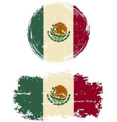 Mexican round and square grunge flags vector