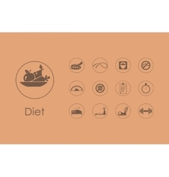 Set of diet simple icons vector