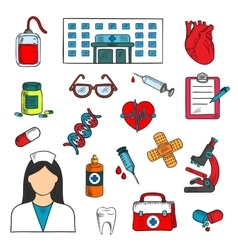 Hospital doctor and medical icons vector