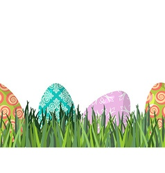 Easter eggs and green grass seamless horizontal vector
