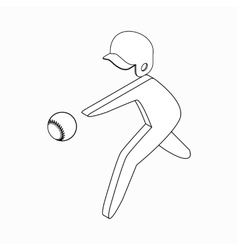 Baseball player icon isometric 3d style vector