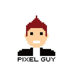 Pixel people theme avatar guy vector