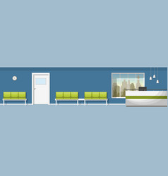 A waiting room with counter panorama vector