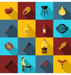 Bbq Grill Icon Flat vector image vector image