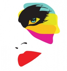 beautiful woman with eccentric makeup vector image