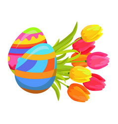 Beautifully colored eggs and festive tulips art vector