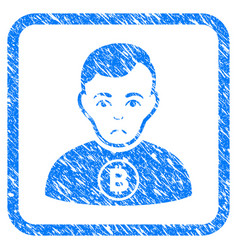 Bitcoin man framed stamp vector