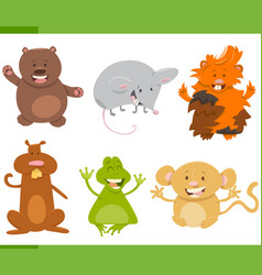 cartoon animal characters set vector image vector image