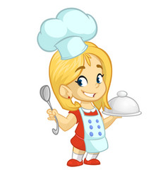 Cartoon girl cooking vector