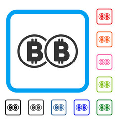 double bitcoin framed icon vector image vector image