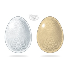 Egg in vintage engraved style vector image vector image