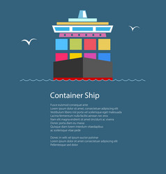 Front view of the container ship and text vector