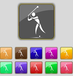 Golf icon sign set with eleven colored buttons for vector
