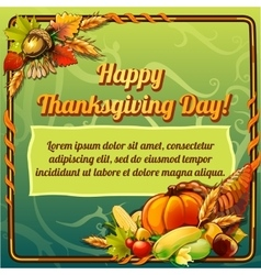 Happy thanksgiving day card on a green background vector