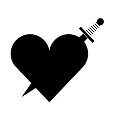 heart love with sword romantic icon vector image