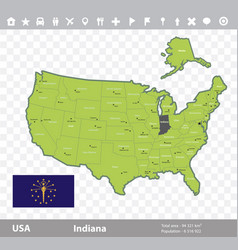 Indiana flag and map vector