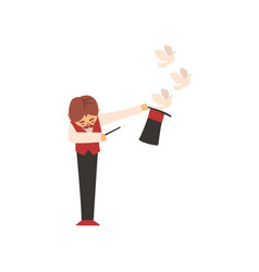magician holding magic wand letting out pigeons vector image