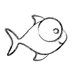 monochrome sketch of fish with big eye and small vector image vector image