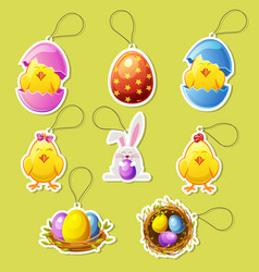 Pack cartoon icon stickers for easter vector