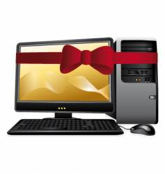 personal computer with red bow vector image vector image