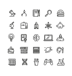 Science and education linear icons vector