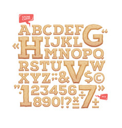 Sculpted alphabet stone carved letters numbers vector