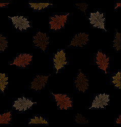 Seamless pattern of autumn leaves of red oak vector