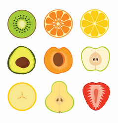 Set fruit sliced vector